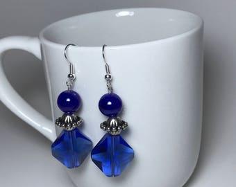 Blue Earrings, Silver Earrings, Crystal Earrings