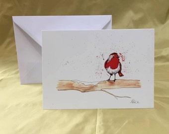 A5 Watercolour Robin Greetings Card