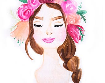 11x14 Flower Girl Watercolor art print