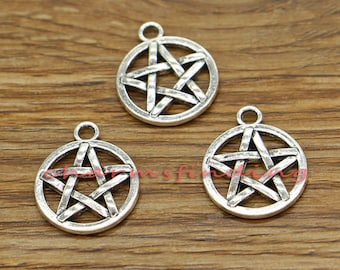 20pcs Pentagram Charms Five-pointed Star Charms Antique Silver Tone 16x20mm cf2107