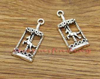 20pcs Carousel Horse Charms Antique Silver Tone 15x33mm cf3127