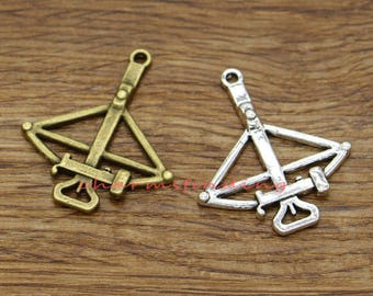 10pcs Crossbow Charms Bow and Arrow charm Antique Silver Bronze Tone 34x40mm cf2207