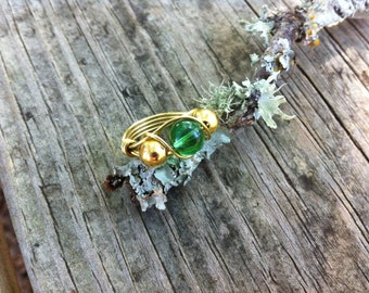 Gold Tone Copper Wire Wrapped Ring