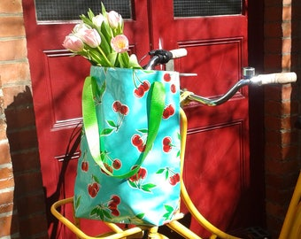 """Shopper - tote bag - boho bag - """"Cerezas"""" from waterproof mexican oilcloth, turquoise"""