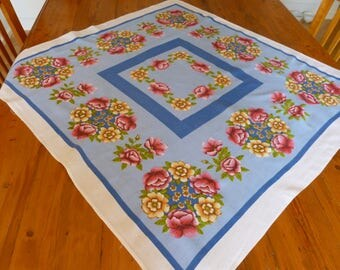 Vintage Floral Tablecloth, Vintage Linen, Home Decor, Gift for Her