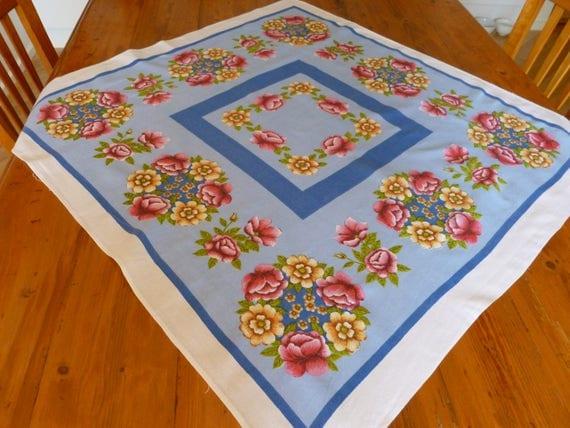 Vintage Floral Tablecloth Vintage Linen Home Decor Gift For