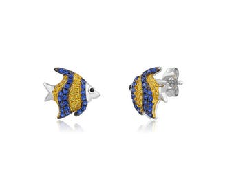 Rhodium plated Sterling Fish w/ color post earrings.