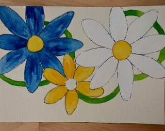 Trio of daisies, watercolor, small size, Decoration, Ideal for the home,