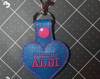 Aldi, ALDI Quarter Keeper keyring, Aldi Quarter Holder, Aldi Keychain Aldi Key Chain Aldi Quarter Holder Snap Tab Key Fob Quarter Saver