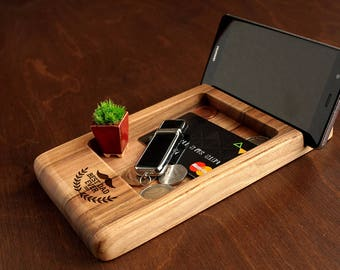 Personalized Dad Gifts, Fathers Day Gift from Kids, Fathers Day Gift from Wife,Gifts for Dad,Gifts for Him, Mens Valet Tray, Docking Station