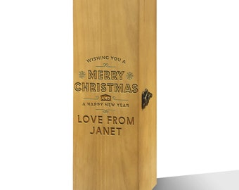Personalised Wishing You A Merry Christmas Luxury Varnished Wooden Wine Box