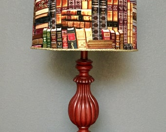 Lamp books library dark red