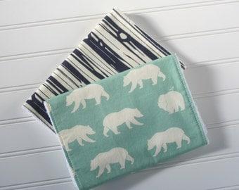 Polar Bear Burp Cloth Set | Burp Cloths | Burp Rags | Wood Grain Burp Cloth | Baby Gifts