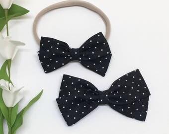 Black Hair Bow - Black and White Polka - Hair Bow - Clip or Headband