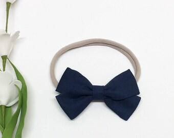 Nylon Baby Headband - Navy - Baby Headband - Clip or Headband