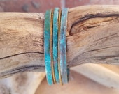 blue and brass stacking bangles, copper bangles, turquoise bangles, rustic weathered patina copper bangles