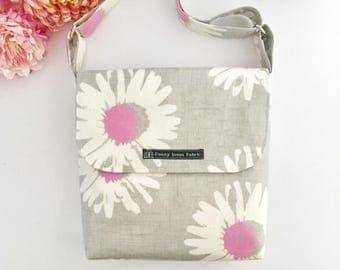 floral crossbody bag, floral bag, fabric purses, oilcloth bags, purple bag, grey purse, crossbody bags, oilcloth handbags, fabric bags