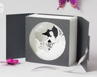 "Greeting Card ""Moon"", Tunnel Pop-up Card Papercut 3D"