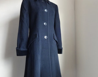 Vintage Austin Reed Coat. Black cashmere, wool and velvet, long line fit and flare. Single Breasted. UK 12.