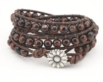 Leather wrap bracelet, Triple wrap, Beaded bracelet, Women's bracelet, Tiger's eye, leather bracelet, boho, bracelet,