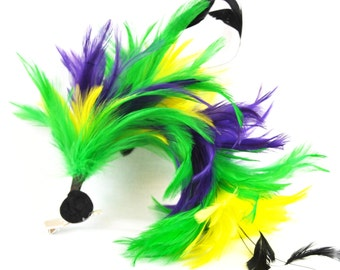 Mardi Gras Themed Bendable Feather Hair-clip or Brooch - Purple, Green, and Yellow