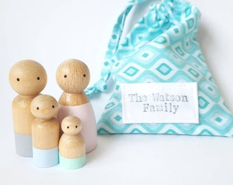 Personalised Peg Family, Custom Peg People, Wooden Peg Dolls, Mothers Day Gift, Anniversary Gift, Personalised Baby gift