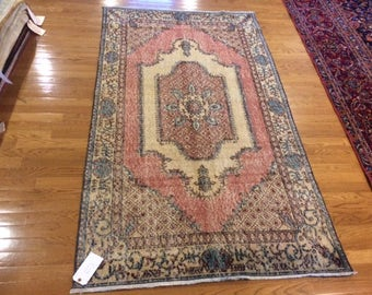 Turkish rug antique hand knotted 3.8 x 6.6 washed clean very low pile rare