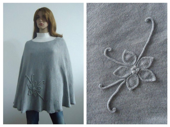 Poncho gray sweater grey wool modern knitwear Hand knitted poncho jumper Gift 100% handmade Women cape
