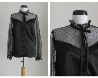 1970s Vera Mont Blouse/Black High Neck Blouse/ 70s vintage bow blouse
