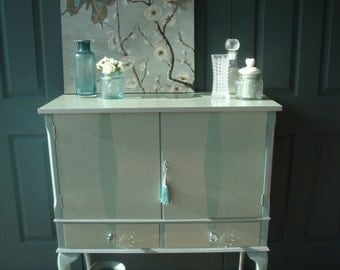 Duck Egg and Silver Vintage Sideboard / Drinks Cabinet
