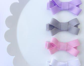 Baby Bow Clips, Mini Clips, Bow Set, Mini Ribbon Bows