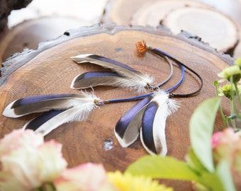 Feather Hair Clip, Tribal, Boho, Bohemian, Clip-in feathers, Hair accessory, Hair extension, Mallard Feathers