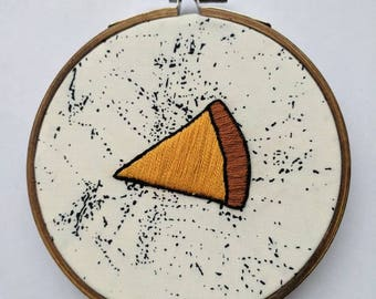 Pizza embroidery, cheese pizza slice embroidery, quirky gift, home decor, kitchen decor, pizza art