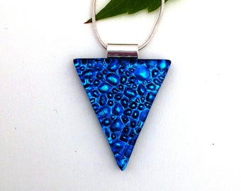 Texture blue with turquoise highlights dichroic glass pendant