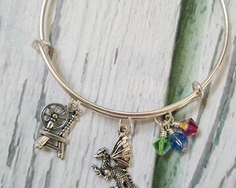 Sleeping Beauty Inspired Bracelet, Aurora Jewelry, Princess Bracelet, Fantasy Jewelry, Fairytale Jewelry, Gifts for Women, Free Shipping