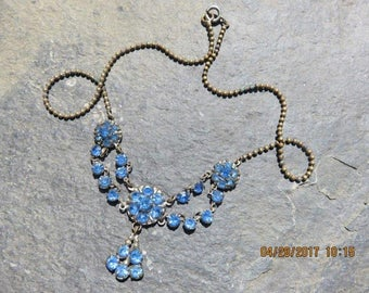 Antique Victorian Rhinestone Necklace Blue Rhinestones