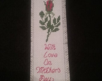Handmade Cross Stitched Mother's Day Bookmark