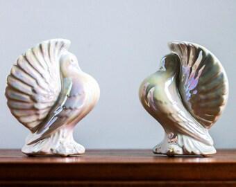 White Iridescent Ceramic Turkeys (Set of Two)
