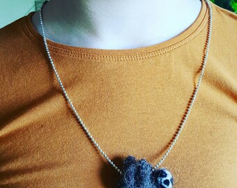 Cute needle felted sloth pendant on chain