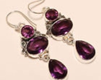 Handmade African Amethyst .925 Sterling Silver Earrings 2""