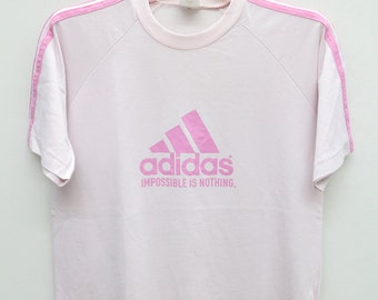 Vintage ADIDAS Impossible Is Nothing Sportswear Pink Tee T Shirt Size L