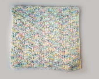 Hand knit multi color baby blanket afghan