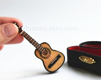 Collectible Miniature Guitar, Doll House Miniature Guitar, Acoustic Guitar, Music Lover, Musician Gift, Guitar Gifts, Band Gifts