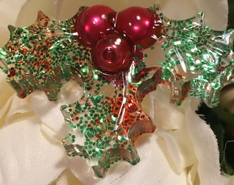 Christmas Gift Resin Holly Pin