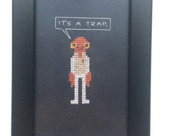 "Admiral Ackbar ""It's a trap."" Cross Stitch Framed"