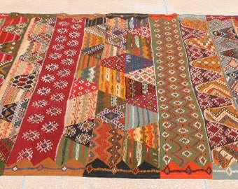 Colorful Kilim Rug Multicolor Rug Large Bright Colored Area Rug 6x10 Carpet  Blue Green Red Childrens