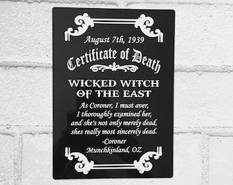 Wizard of Oz Sign - Wicked Witch Death Certificate - Wreath Sign - Aluminum Sign - Wreath Attachment