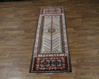 Nice One of a Kind Runner Turkoman Balouch Persian Rug Oriental Area Carpet 3X9
