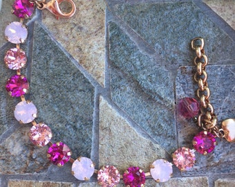 Antique silver, Pretty In Pink swarovski crystal bracelet. Shellyanns Crystals, Free Shipping!