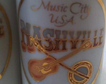 Vintage Salt and Pepper Shakers, Set of Vintage Salt & Pepper Shakers, Music City, USA, Nashville, Tennessee, Guitar, Banjo, Music Fun